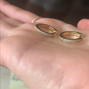 kate spade Jewelry - Kate Spade 12k gold plated pavé huggies